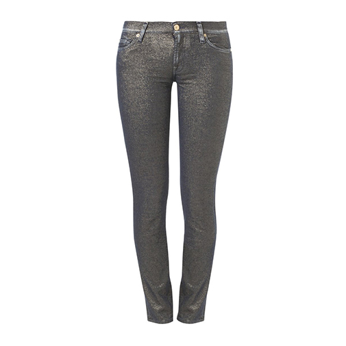 THE SKINNY - jeansy slim fit - 7 for all mankind - kolor złoty